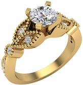 Glitz Design 0.96 ct tw Solitaire Diamond Leaflet Shank Wedding Ring 14K Yellow Gold (Ring Size 4)