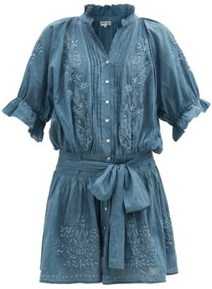 Juliet Dunn Floral-embroidered Cotton Mini Dress - Blue