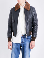 Ami Alexandre Mattiussi Shearling collar leather jacket