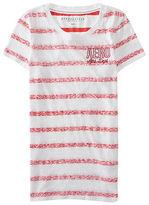 Aeropostale Womens Aero Athletic Reverse Stripe Tee Shirt