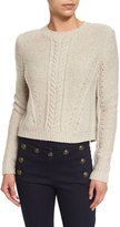 Veronica Beard Charmer Cropped Wool-Blend Sweater, Oatmeal