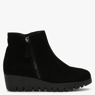 Daniel Riddle Black Suede Low Wedge Ankle Boots
