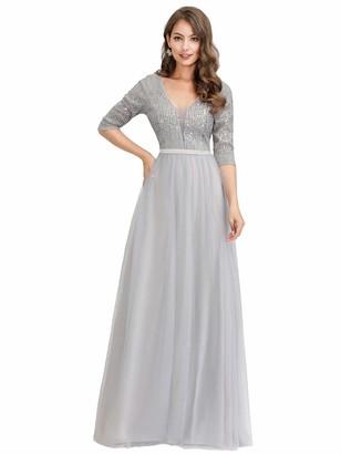 Ever Pretty Ever-Pretty Women's V Neck Half Sleeve Floor Length Elegant A Line Empire Bridesmaid Dresses with Sequin Grey 12UK