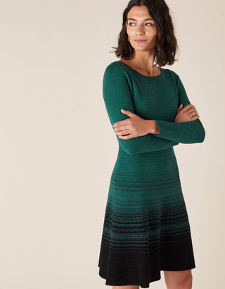 Monsoon Ombre Knit Dress with Sustainable Viscose Green