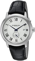 Raymond Weil Men's 'Maestro' Swiss Automatic Stainless Steel and Leather Casual Watch, Color:Black (Model: 2238-STC-00659)