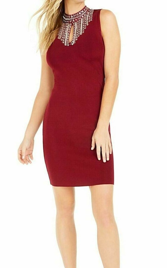 Marciano Womens Burgundy Embellished Zippered Sleeveless Mock Short Body Con Party Dress UK Size:8