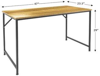 DL Furniture Computer Desk With Extra Storage Space - Steel Frame & Polished Wood Surface - Personal Work Table Desk Multi Function Living Room Office Supply - Woo