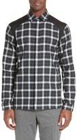 Neil Barrett Men's Contrast Panel Plaid Shirt