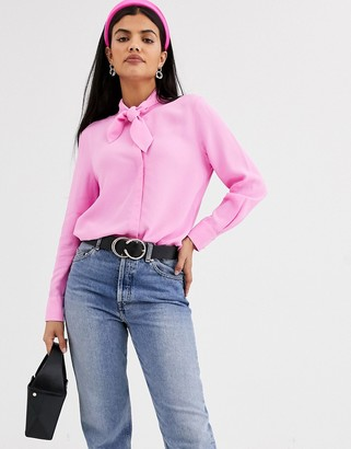 And other stories & high neck pussybow blouse in pink