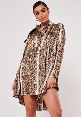 Missguided Stone Snake Print Dip Back Satin Shirt Dress