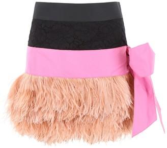 N°21 N21 Feather Trim Mini Skirt