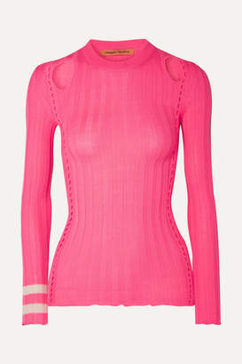 Maggie Marilyn Hole Lot Of Loving Cutout Ribbed Wool-blend Sweater - Bright pink