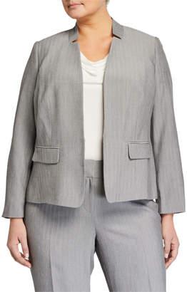 Kasper Plus Plus Size Stand Collar Mini Herringbone Jacket