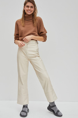 Scotch & Soda Hayden Straight Leather Trousers By in White Size XS