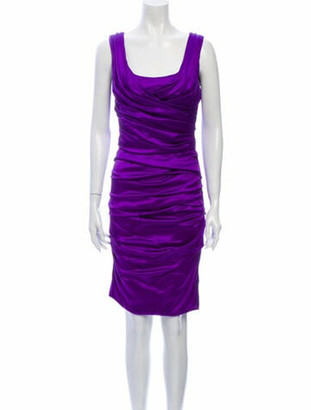 Dolce & Gabbana Silk Knee-Length Dress Purple
