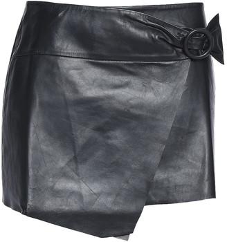 BA&SH Braddy Wrap-effect Leather Mini Skirt