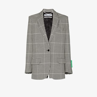 Off-White Houndstooth-Check Single-Breasted Blazer