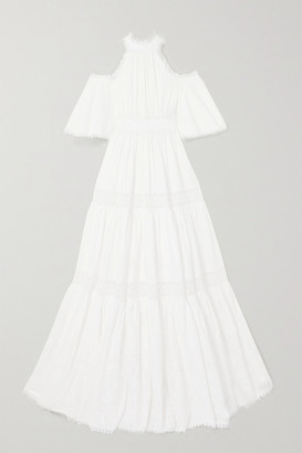 RALPH & RUSSO Cold-shoulder Crochet-trimmed Broderie Anglaise Cotton-blend Gown - White