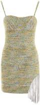 Area Crystal Fringe Tweed Dress
