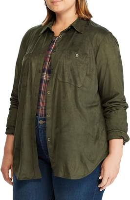 Chaps Plus Relaxed-Fit Faux Suede Shirt