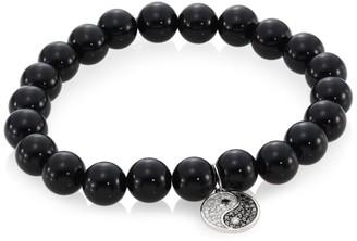 Sydney Evan Onyx, Diamond & 14K Two-Tone Gold Rondelle Yin Yang Bracelet