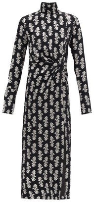 16Arlington Morie High-neck Fil-coupe Dress - Black Print