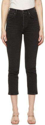 AGOLDE Black Riley High-Rise Straight Crop Jeans
