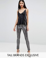 Glamorous Tall Metallic Elastic Waist Leggings