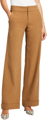 Alice + Olivia Dylan Low-Rise Cuffed Wide-Leg Pants