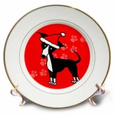 3dRose cp_25375_1 Cute Black Italian Greyhound Red with Santa Hat-Porcelain Plate, 8-Inch