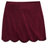 Aqua Girls' Faux Suede Scalloped Skirt - Sizes S-XL