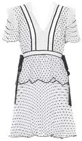 Self-Portrait Lace-trimmed plumetis minidress