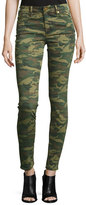 True Religion Halle Mid-Rise Super Skinny Jeans, Green Destroyed Camo
