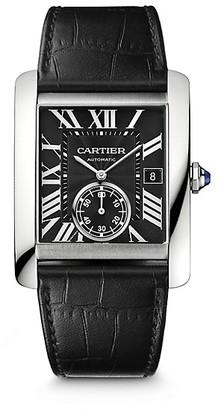Cartier Tank MC Stainless Steel & Black Alligator-Strap Watch