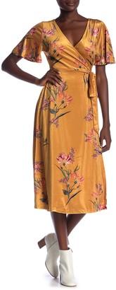 Flying Tomato Floral V-Neck Velvet Wrap Dress