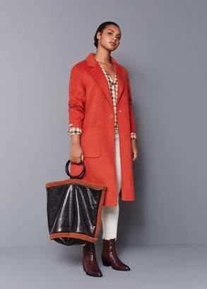 MANGO Violeta BY Contrast faux-shearling shopper bag black - One size - Plus sizes