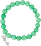 Tai Agate Beaded Stretch Bracelet w/ Pave Love Charm, Mint