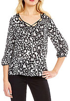 Bobeau Woven Cut-Out V-Neck Top