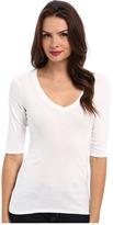Michael Stars Supima Elbow Sleeve Vee Neck Women's T Shirt