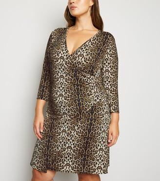 New Look Mela Curves Leopard Print Wrap Dress