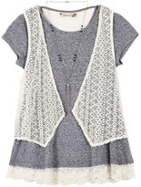Speechless Girls 7-16 Crochet Vest & Lace Hem Tee with Necklace