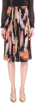 Emilio Pucci Pleated feather-print silk-crepe skirt