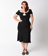 Stop Staring Exclusive Plus Size 1930s Black & Tan Lace Cap Sleeve Railene Dress