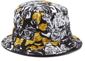 Versace Rose-print Twill Bucket Hat - Black White