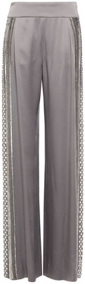 Alberta Ferretti Embellished Satin-crepe Wide-leg Pants