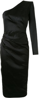 Alex Perry Kendra one-shoulder snakeskin-effect dress