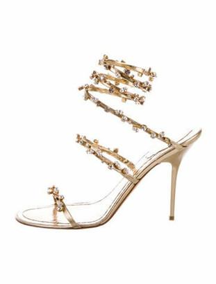 Rene Caovilla Leather Crystal Embellishments Sandals Gold