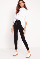 Missguided Zip Detail Ponte Skinny Fit Pants Black
