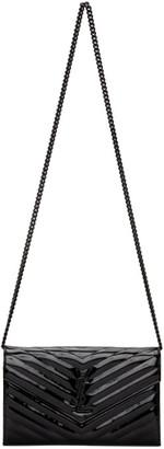 Saint Laurent Black Patent Monogramme Chain Wallet Bag