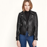 Maje Leather fringed blouson jacket